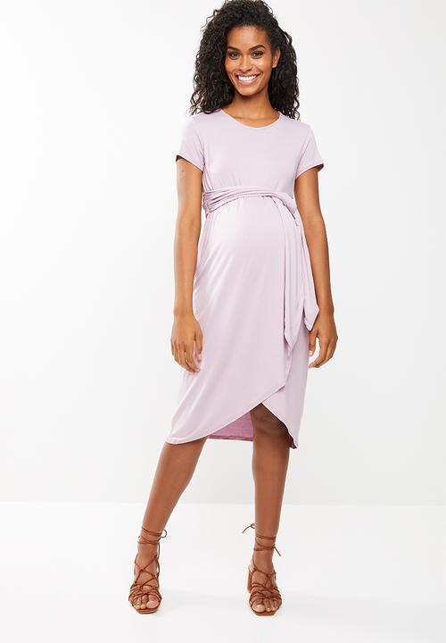 e963dcc8aaf Front tie maternity dress - purple edit Maternity Dresses ...