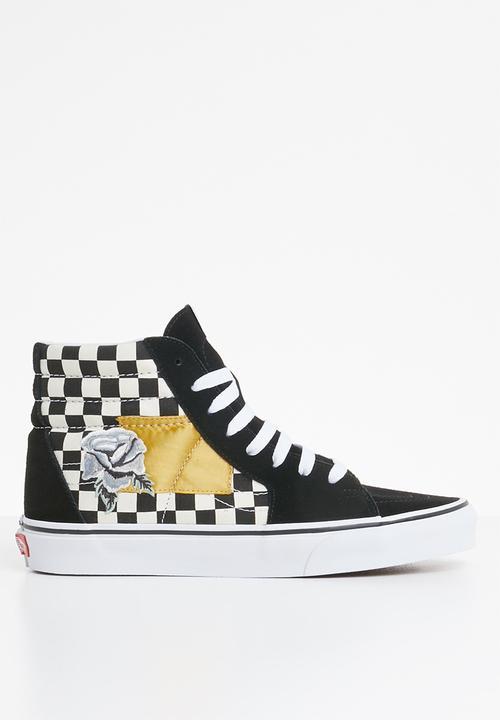 370b4fd3d9 Vans SK8-Hi - (Satin Patchwork) Checker Black   White Vans Sneakers ...