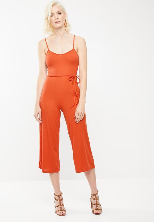 fb73e944a729 Rib culotte jumpsuit - orange Missguided Jumpsuits   Playsuits ...