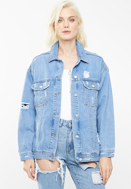 de58e536e0d Oversized boyfriend fit denim jacket - blue Missguided Jackets ...