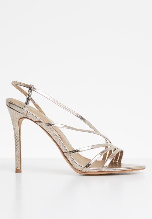 5b97d665661124 Asymmetric multi strap heel sandal - Gold Missguided Heels ...