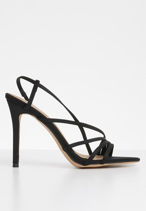 2c6e3fff12581a Asymmetric multi strap heel sandal - Black Missguided Heels ...