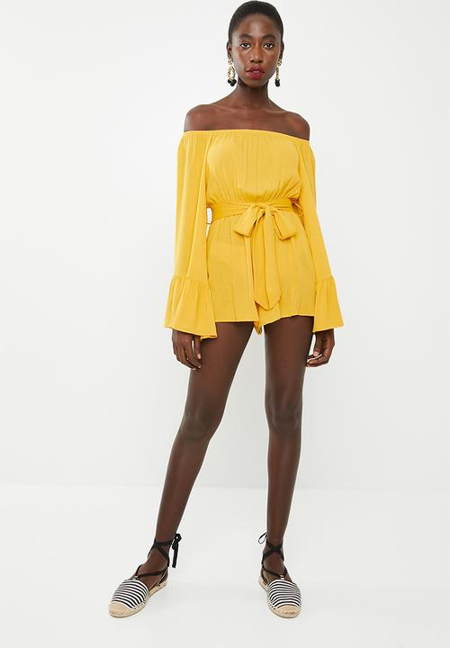 8a592efca614b Bardot playsuit - mustard Missguided Jumpsuits   Playsuits ...