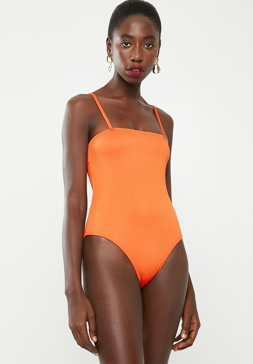 0aea54f9d0d91 Rib square neck high leg swimsuit - orange Missguided One Piece ...