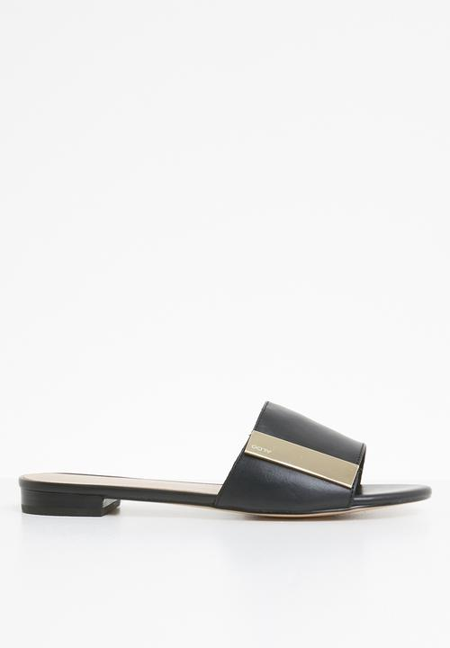 Aladoclya flat block slide sandal - black leather ALDO Sandals ...