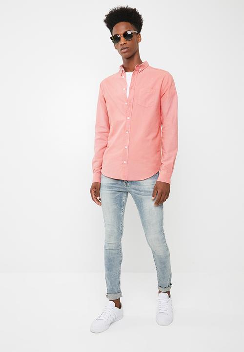 9a0a1ff4 Slim fit long sleeve oxford shirt- salmon pink Superbalist Shirts ...