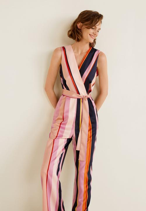 be3c228ea7 Striped jumpsuit - pink   navy MANGO Formal