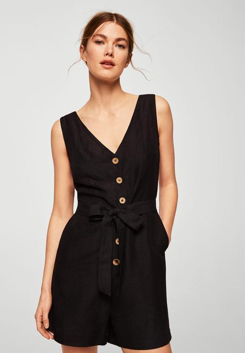 Ongekend Bow detail playsuit - black MANGO Jumpsuits & Playsuits MY-03