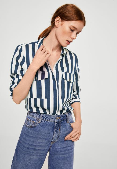 0b744902f1 Striped soft shirt - navy   white MANGO Shirts
