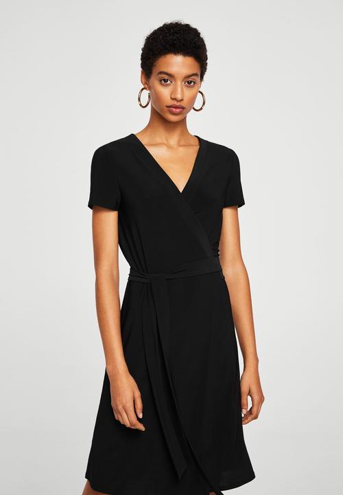 d4437444471 Bow wrap dress - black MANGO Casual