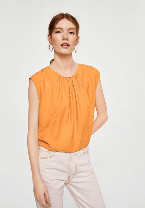 70f9222801d4da Bow Leopard-print Blouse Orange MANGO Blouses