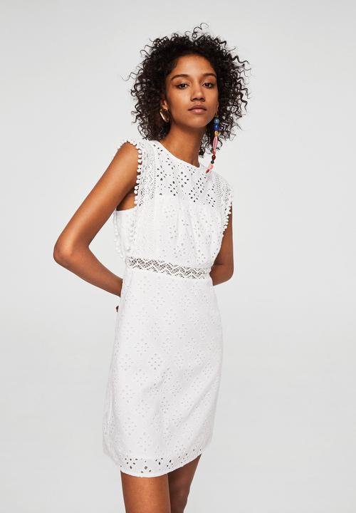 9409e4837d92 Openwork Cotton Dress Off White MANGO Casual