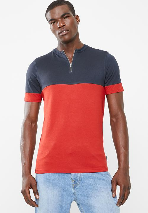 9dfb84f392 Half zip colour block short sleeve tee - navy red Only   Sons T ...