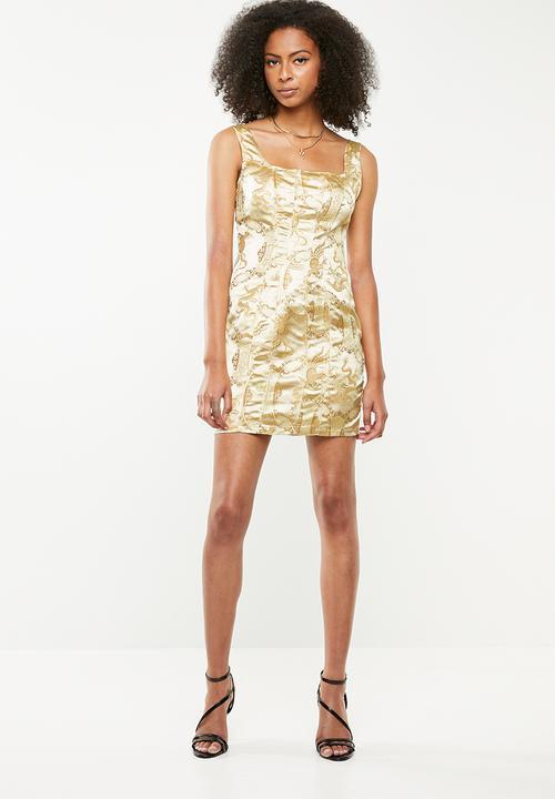 ceb7a61632cb Oriental jacquard mini dress- gold Missguided Occasion | Superbalist.com