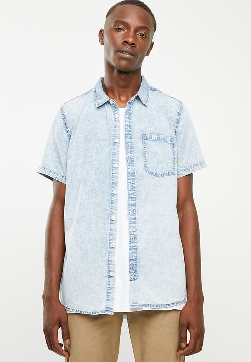 fb7cab4c 91 short sleeve shirt - light blue acid denim Cotton On Shirts ...