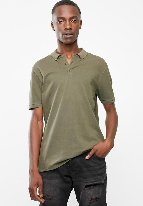 dff086e2 Pique slim fit polo - olive green Superbalist T-Shirts & Vests ...