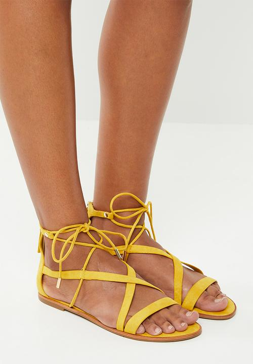 235d1cdf131 Asymmetric strap flat gladiator sandal - yellow ALDO Sandals   Flip ...