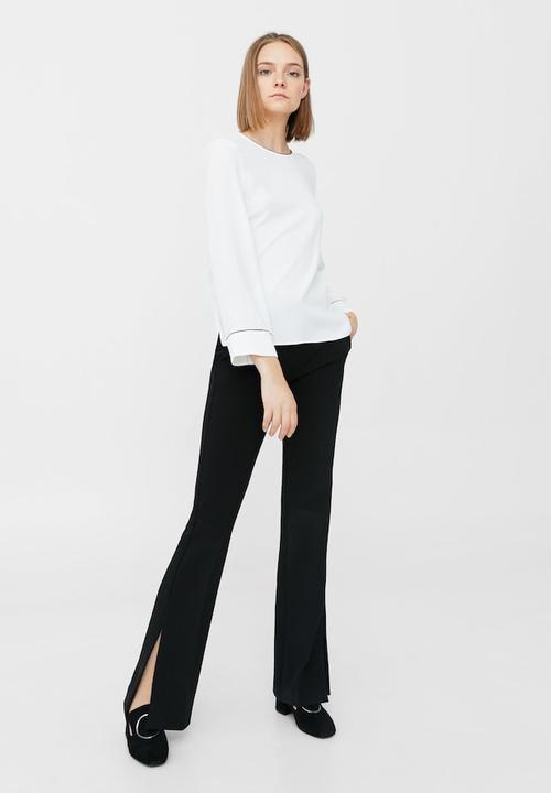 Contrast trim blouse - white MANGO Blouses  174513381