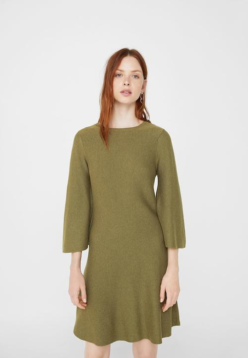 Flared sleeves dress - khaki green MANGO Casual  06b9aea3a