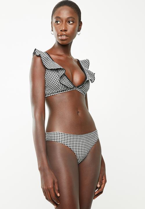 a39ba89486 Frill gingham bikini bottom - black & white Brave Soul Bikinis ...
