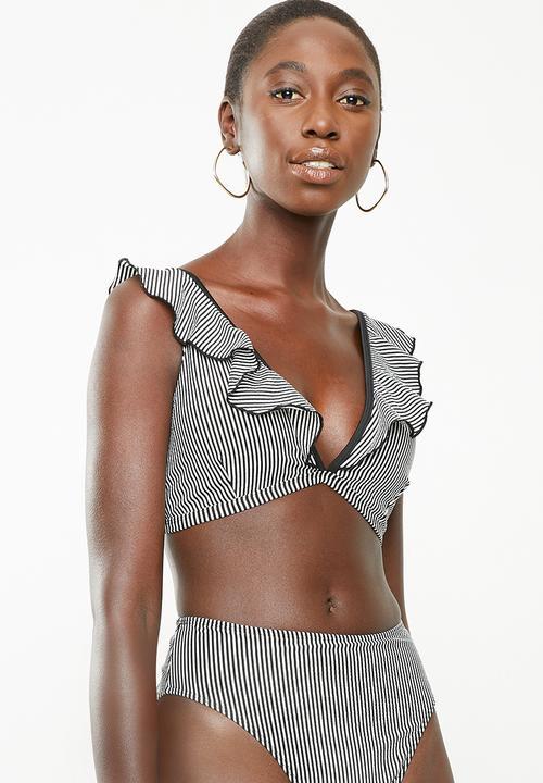 b429f3df732 Frilly striped bikini top - black and white Brave Soul Bikinis ...