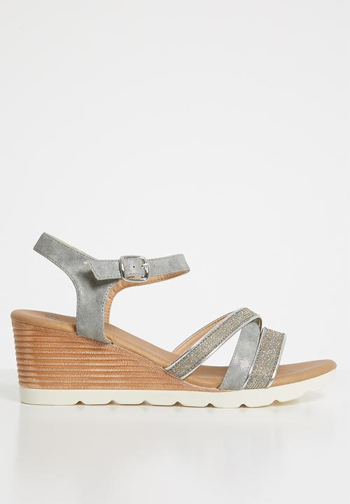e1a1a607fd7 Courtney strappy wedges - grey Butterfly Feet Heels