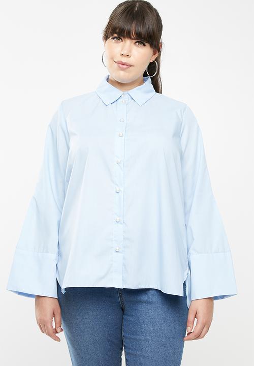 ec9e1bc1 Pearl button shirt - plus size - pale blue STYLE REPUBLIC PLUS Tops ...