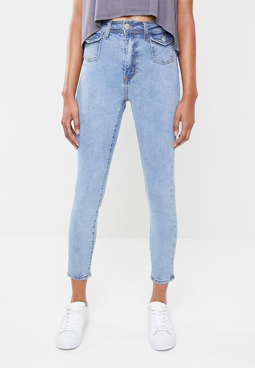 7e1538af19 High rise grazer skinny jean with pocket - blue Cotton On Jeans ...