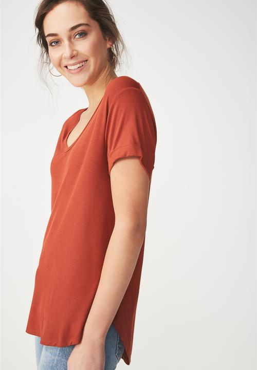 38d9afca1f8 Karly short sleeve top - terracotta red Cotton On T-Shirts