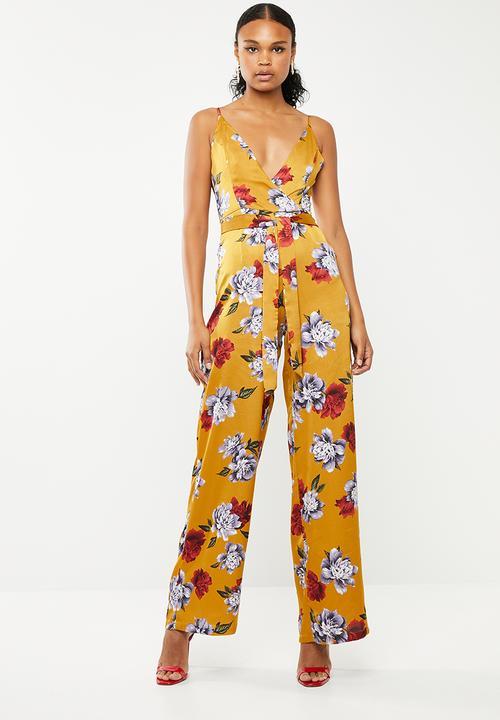 1fa72b6b870 Floral wide leg tie waist jumpsuit - yellow Missguided Jumpsuits ...