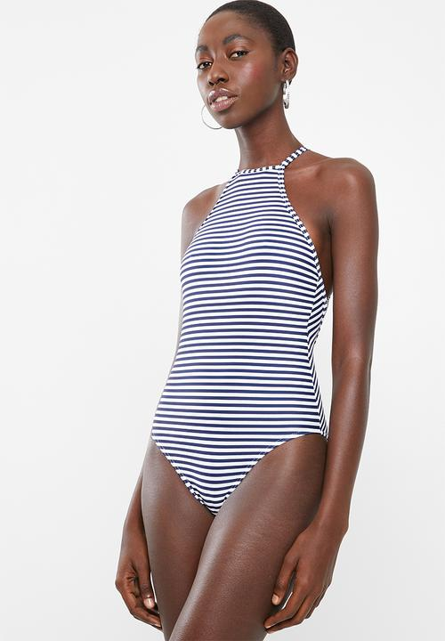 6a865263b8 High-neck strappy back one piece swimsuit - navy   white Lithe One ...