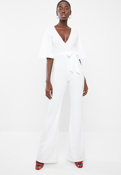 f987f532c396 Plunge kimono sleeve jumpsuit - white Missguided Jumpsuits ...