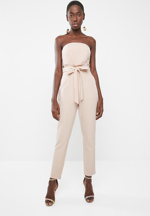 68a9b74db55 Paperbag waist bandeau - neutral Missguided Jumpsuits   Playsuits ...