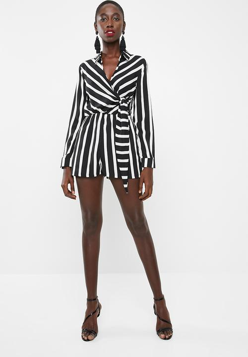 c3f3851834a Wrap front stripe shirt playsuit - white Missguided Jumpsuits ...