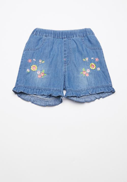 b78bbe2916c80 Printed denim shorts 1 - blue POP CANDY Shorts | Superbalist.com