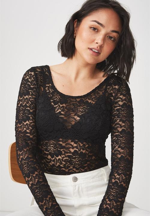 86f0243821 Lace long sleeve bodysuit - black Cotton On Blouses | Superbalist.com