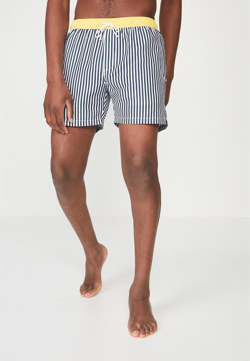5dcae7c0cb07 Swim shorts - navy white stripe/yellow tip Cotton On Swimwear ...