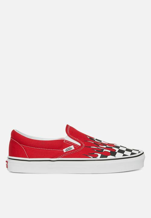 e3ff2dd8ee Classic slip-on checker flame - racing red true white Vans Sneakers ...