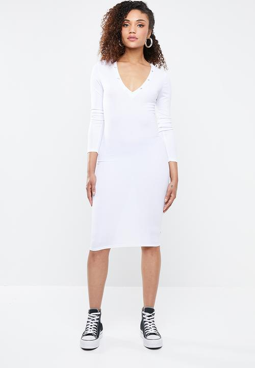 aa537778c121c Ribbed popper midi dress - white Missguided Occasion