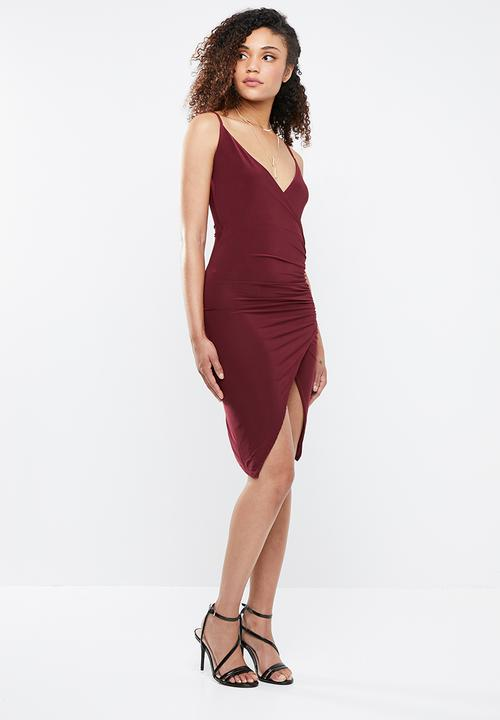 78f8c3eb913 Strappy slinky wrap bodycon dress - burgundy Missguided Occasion ...