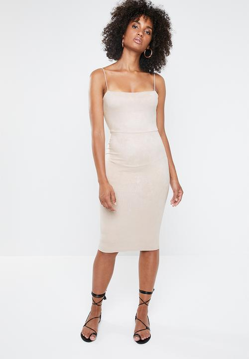 5c68410e497b3 Strappy square neck suede midi dress - stone Missguided Occasion ...