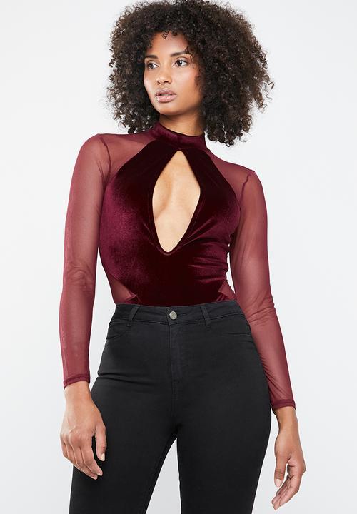 04792f174f85 Velvet bodysuit lace sleeves - burgundy Missguided Blouses ...