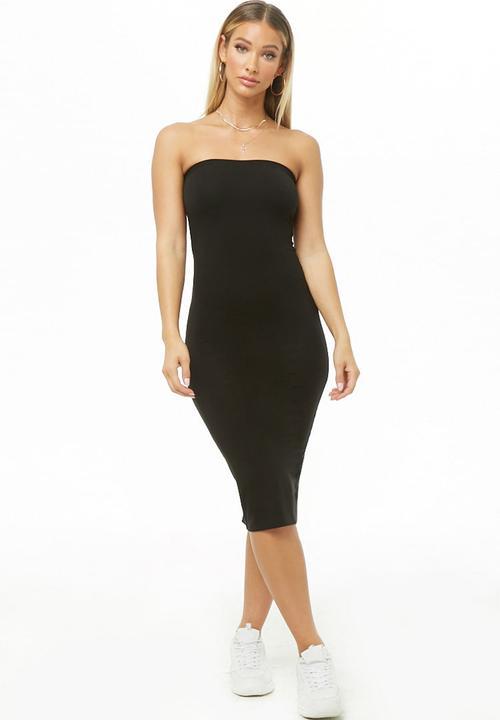 8674de256cb Midi length bandeau knit dress - black Forever21 Casual ...