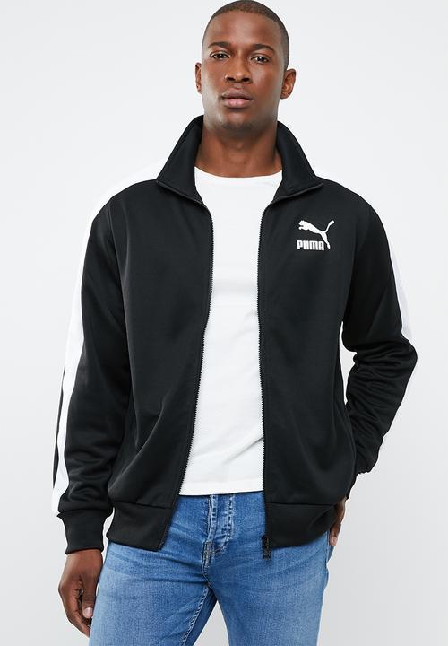 00b9e1301b28 Classics iconic T7 track jacket - black white PUMA Hoodies