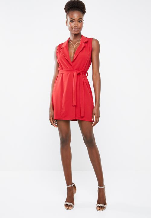 e6f92de7ba Sleeveless blazer dress - red Missguided Casual