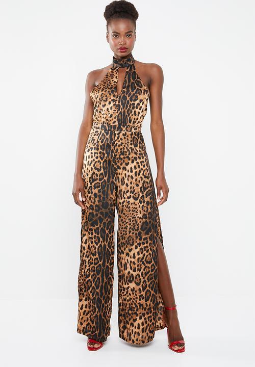 official photos outlet boutique cheap Leopard print split jumpsuit - brown Missguided Jumpsuits ...