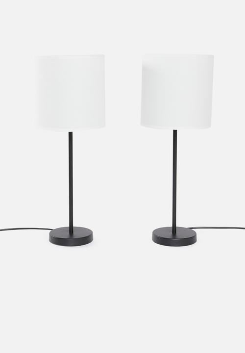 Upright Table Lamp Set Of 2 Black
