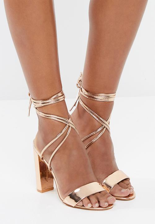 fd688e60673 Suzu strappy lace up block heel - rose gold Public Desire Heels ...
