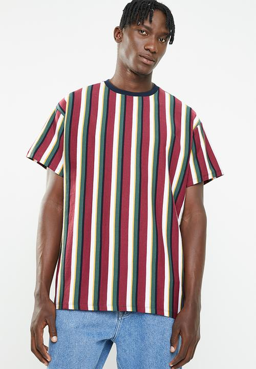 612440f6af Rock short sleeve vertical stripe tee - maroon New Look T-Shirts ...