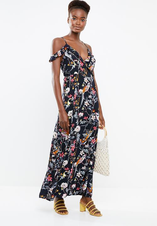 d0c4914737d Floral maxi with spaghetti strap dress - navy Revenge Casual ...